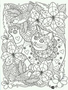 cat in the garden coloring page