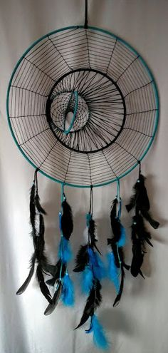 Giant Blue Triple Dream Catcher Spider Moon and 3-D by JustFayt
