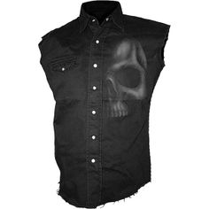 The Shadow Skull workers shirt is a sleeveless black denim button-down shirt from the Spiral Direct goth clothing collection.