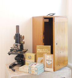 Vintage Microscope, 1945 Bausch and Lomb, Original Box Case, Brass Microscope, Prepared Slide, Scientist, Bioligist, MB539, prop set design