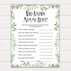 Greenery Celebrity Baby Names, Leaf Guess the Celebrity Baby, Printable Baby Games, Celebrity Babies Game, Botanical Baby Shower Games Celebrity Baby Names, Celebrity Babies, Fun Baby Shower Games, Baby Games, Shower Baby, Around The World Games, Baby Language, Who Knows Mommy Best, Names Girl