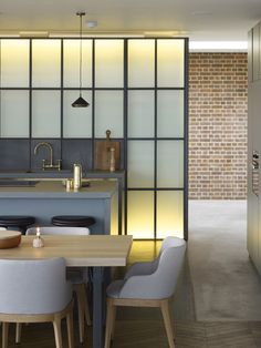 Michaelis Boyd designed the 254 individual luxury apartments within the Grade II* Listed Battersea Power Station bringing life back into . Interior Windows, Room Interior Design, Kitchen Interior, Interior Ideas, Reeded Glass, Steel Doors And Windows, Simple Kitchen Design, Kitchen Designs, Battersea Power Station