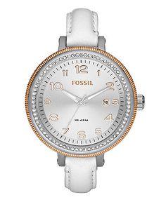 Fossil Watch, Women's Bridgette White Leather Strap 42mm AM4362 - Women's Watches - Jewelry & Watches - Macy's
