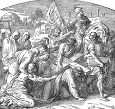 Simon of Cyrene | Simon of Cyrene is compelled to carry Jesus' cross.