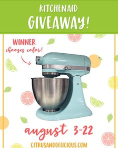 Just wanted to give everyone ONE LAST CHANCE to enter for a chance to #win my 3 years of blogging celebration G I V E A W A Y!! . My #KitchenAid is one of my favorite kitchen appliances and I'm giving one away to one lucky winner - entries can be submitted until midnight EDT tonight and I'll be choosing a winner tomorrow morning!! Time to get excited!! . Click the link in my bio @citrusanddelicious and scroll to the bottom to enter!! Good luck!