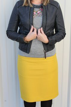 bomber + yellow skirt Top Gun, Winter Wardrobe, Vegan Leather, Casual Looks, Nashville, Tennessee, Anthropologie, Bomber Jacket, Denim