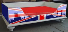 Dog Bed with Union Jack flag UK GB for Queens Jubilee 2012.... we are working on a range of Decal Stickers that can be applied to this bed design so you can have it to your taste