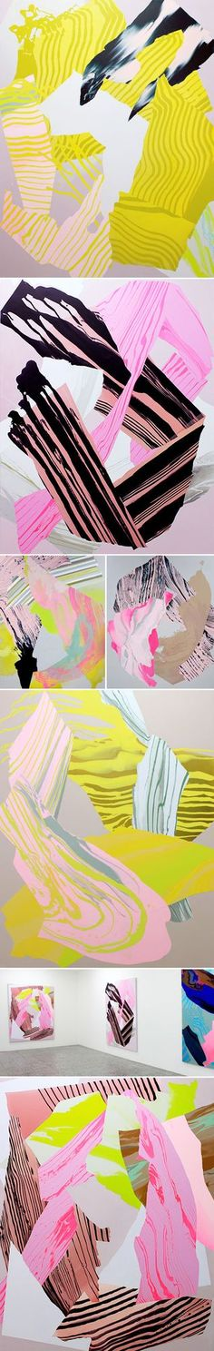 Whoa. How's this for a way to end the week!? These insanely colorful, dynamic, large-scale abstract paintings {synthetic polymer paint on canvas} by Melbourne based artist Noël Skrzypczak make my hear