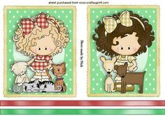 TWO LITTLE COUNTRY GIRLS WITH PETS TOPPERS on Craftsuprint - Add To Basket!