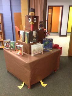 School #library ideas for book displays and Bulletin boards. A #Thanksgiving #Turkey to display the new books available. #November first  was a great time to set this up for display the whole month.