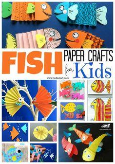 DIY Paper Fish Crafts - Red Ted Art diy arts and crafts for kids - Kids Crafts Arts And Crafts For Teens, Animal Crafts For Kids, Easy Arts And Crafts, Summer Crafts For Kids, Craft Projects For Kids, Paper Crafts For Kids, Arts And Crafts Projects, Toddler Crafts, Preschool Crafts