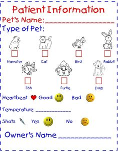vet chart for dramatic play area during community helper unit- we could have the kids work in pairs (one the customer and one the vet, and the vet has to fill out the chart and treat the pet) Dramatic Play Themes, Dramatic Play Area, Dramatic Play Centers, Community Helpers Preschool, Role Play Areas, Kindergarten Centers, Kindergarten Classroom, Vet Clinics, Play Based Learning