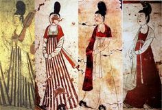 Period Tang Dynasty artwork of Court Ladies (from tomb murals) 唐代壁畫中婦女服飾