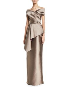 Rickie Freeman For Teri Jon Stretch Gazar Off-Shoulder Peplum Column Gown Blush Gown, Gold Gown, Peplum Gown, Jacquard Dress, Mother Of The Bride Dresses Long, Mothers Dresses, Principal Sponsors Gown Weddings, Off Shoulder Gown, Mob Dresses