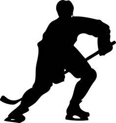 Hockey player silhouette w/name- custom boys vinyl wall decal decor (black) Hockey Mom, Hockey Teams, Hockey Players, Ice Hockey, Hockey Stuff, Hockey Crafts, Hockey Decor, Hockey Wedding, Hockey Party