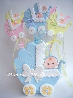 Baby Shower Party Favors - products new description - Baby Cookies, Baby Shower Cookies, Baby Shower Favors, Baby Shower Parties, Baby Boy Shower, Baby Carriage Cake, Moldes Para Baby Shower, Shower Bebe, Baby Shawer
