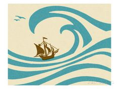 Sailboat at Sea Art by Pop Ink - CSA Images at AllPosters.com