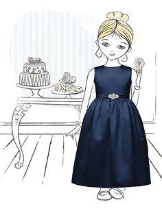 Cute navy blue flower girl dress