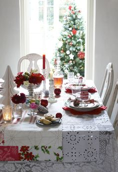 Christmas table setting with pieced tablecloth