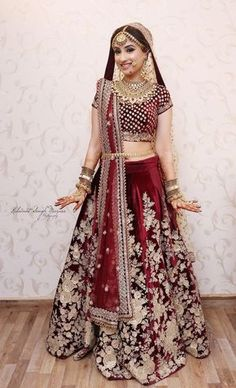 Marsala wedding lehenga with floral zardozi work