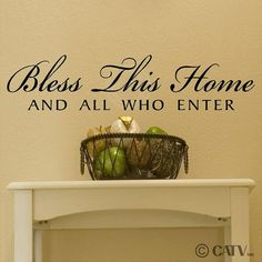 Bless This Home And All Who Enter Vinyl Lettering Quote Wall Decal Sticker  Art