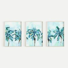 Tropical Palm Tree Bright Painting Triptych Set of Three Wall Art Prin – Jetty Home Bright Paintings, Tree Paintings, Palm Tree Print, Palm Trees, Wall Art Prints, Canvas Prints, Green Colour Palette, Triptych, Coastal Style