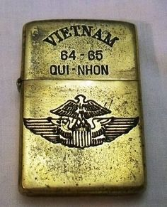vietnam zippo lighters engravings | Vietnam Era Zippo Lighter QUI-NOHN 64-65 Helicoptor Wings Engraved Msg ...