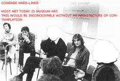 "In 1975 Art & Language (NY) conducted a series of discussions in Australia as an extension of their ""Blurting"" project - itself an extension of their Index project and designed as a manifold of conversational engines. As a process of emphasizing the problem of communication in general, of ""cultural distance"" and notions of provincialism, 12 of their ""Blurts"" were relayed via cable to discussion sessions in Melbourne and Adelaide as a process designed to accumulate ""socio-cultural noise"". […]"