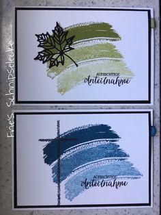 """Trauerkarten - schnell und einfach - ist eigentlich nicht mein Ding, die beiden finde ich aber tatsächlich sehr schön. Hintergrund aus dem Set """"Work of Art"""", Schrift aus Rosenzauber und das Blatt ist aus den neuen Thinlits """"Aus jeder Jahreszeit"""". Das Kreuz ist von Heindesign. Als kleines Highlight hab ich rechts ein wenig Band eingesteckt."""