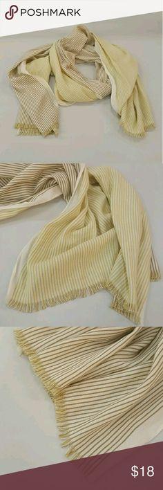 """Long Boho Earthy Stripe Wrap Scarf PRE-LOVED GAP REVERSIBLE STRIPE WRAP SCARF. GAP BLUE LABEL STILL ATTACHED . EARTHY MUSHROOM BROWN STRIPE ON ONE SIDE, MUTED MUSTARD YELLOW W/ AN OFF-WHITE CREAM COLOR CONTRAST BACKGROUND. FRINGE EDGE. 24"""" WIDE X 76"""" LONG Gap Accessories Scarves & Wraps"""