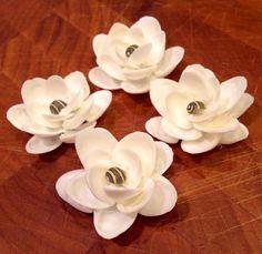 Fleur de Mer ~white seashell flowers  on Etsy, $5.00