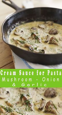 Creamy Mushroom, Onion & Garlic Cream Sauce for Pasta Creamy Mushroom Pasta Sauce, Cream Sauce Pasta, Creamy Mushrooms, Spinach Stuffed Mushrooms, Cream Soup Recipes, Creamy Pasta Recipes, Chowder Recipes, Vegan Dinner Recipes, Mushroom Recipes