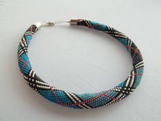 Bead crochet  necklace with plaid pattern by MilenasBoutique