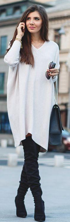 Ivory V-neck Oversize Sweater Dress