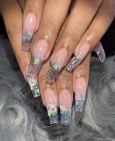 Broken glass nails are the hottest and the latest trend in nail art. You wear jewelry and other accessories to match your nails. The broken glass nails don't sound so terrible. Acrylic Nails Natural, Best Acrylic Nails, Coffin Acrylic Nails Long, Acrylic Nail Designs Coffin, Colored Acrylic Nails, Pink Acrylics, Perfect Nails, Gorgeous Nails, Amazing Nails