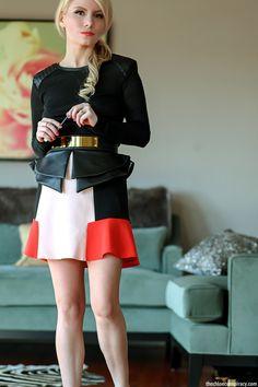 Outfit Of The Yesterday: Pep-Pep-Peplums + Flippy Skirts Petite Fashion, Women's Fashion, Fashion Outfits, Flippy Skirts, Mini Skirts, Black Peplum, Valentino Rockstud, Conspiracy, Fashion Bloggers