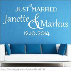 Wandtattoo Hochzeit Just Married mit Namen und Datum