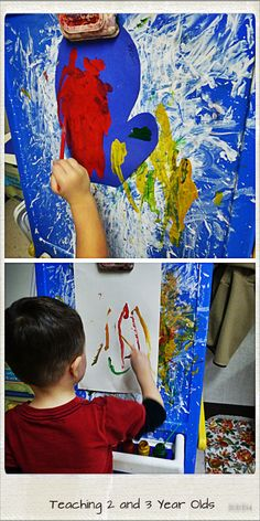 Teaching 2 and 3 Year Olds: Painting with dollar-store tooth brushes (community helpers week).