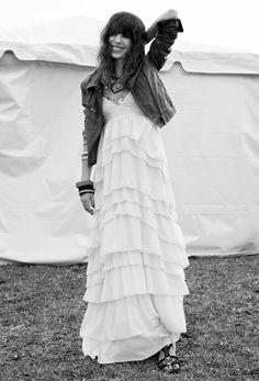Leather jacket + white maxi dress