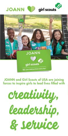 Celebrate G.I.R.L (Go-getter, Innovator, Risk-taker, Leader)™ power by checking out the partnership of JOANN and the Girl Scouts. Thanks to the JOANN Girl Scout Rewards you can save 15% on your favorite craft supplies while supporting creativity, leadership, and service—talk about a combination worth celebrating!