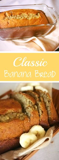 Easy recipe for moist, classic banana bread! Yummy quick bread recipe with only a few ingredients! Perfect breakfast or snack.