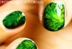 """marble"" without the water by putting two drops o' polish on your nail and swirling with a toothpick"