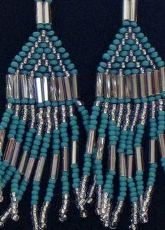 Native American bead weaving earrings in by MontanaTreasuresbyMJ