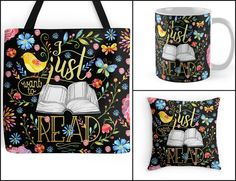 With Love for Books: 1st Birthday Giveaway 14: Enter to win an I Just Want to Read tote bag, mug and pillow set designed by Eviebookish http://www.withloveforbooks.com/2017/01/1st-birthday-giveaway-14-i-just-want-to.html