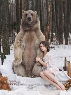 anti-hunting Russian models pose with bears