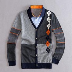 Gender: MenTechnics: Computer KnittedHooded: NoWool: Standard WoolCollar: Turn-down CollarSleeve Length(cm): FullDecoration: ButtonSleeve Style: Regular Mens Fashion Wear, Sweater Fashion, Men Sweater, Men's V Neck Sweaters, Casual Sweaters, Vintage Men, Vintage Fashion, Men Casual, Friends