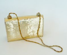 60s Mod Hip Disco Retro Gold Purse by designer Magna Makkay.  Recycled and Eco Friendly fashion accessory statement.  [*Click on image for full details, measurements and 4 more photo views.]  For sale at paroliro on ETSY.  $48.00