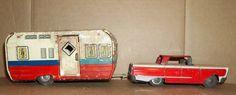 vintage 1950's japan Pressed Tin Litho Toy Car and Camper Set NO RESERVE!   eBay