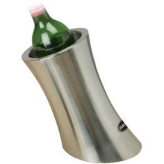 Simple hollowed cylinder to place the wine bottle in. Made of a thick layer metal (stainless steel?) and perhaps has insulation