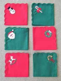 Vintage Christmas Napkins, Embroidered Napkins, Cocktail Beverage Size Cloth Serviettes, Red and Green Cloth Napkins, Vintage Christmas Wreath Making Supplies, Craft Supplies, Cocktail Drinks, Cocktails, Small Scarf, Christmas Napkins, Holiday Images, Valentines Greetings, Bird Boxes
